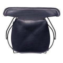 Armchair, Black Smoke Steel and Navy Saddle Leather, HUG Collection