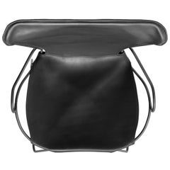 Armchair, Black Smoke Steel and Tanned Black Saddle Leather, HUG Collection