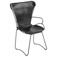 Armchair, Black Smoke Steel and Tanned Black Saddle Leather, HUG Collection