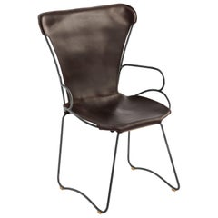 Armchair, Black Smoke Steel and Dark Brown Saddle Leather