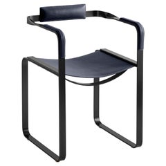 Armchair, Black Smoke Steel & Blue Navy Saddle Leather, Contemporary Style