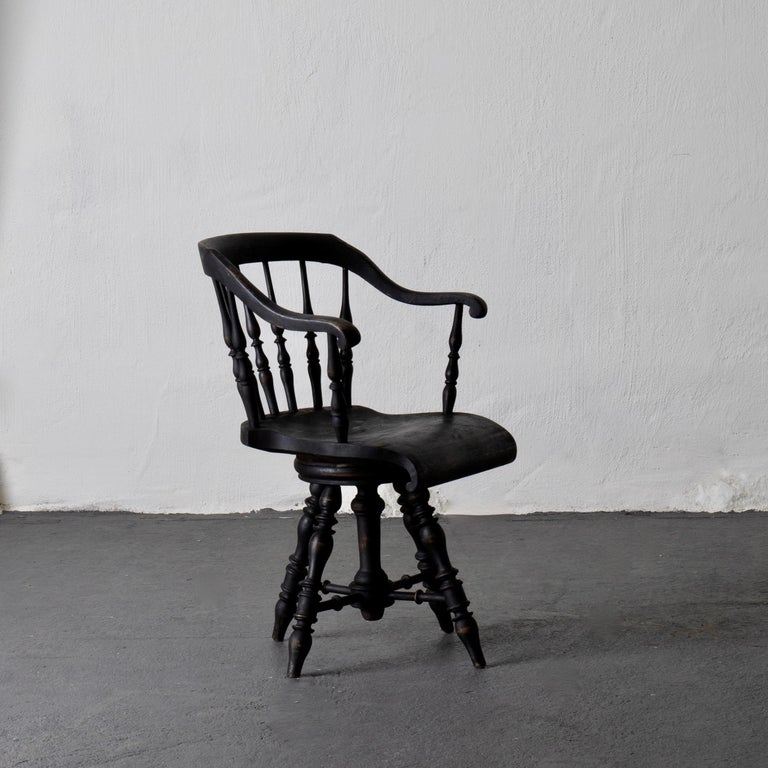 Armchair Captain's chair black Swedish 19th century Sweden. An armchair made during the end of 19th century. Painted in our signature Laserow Black.