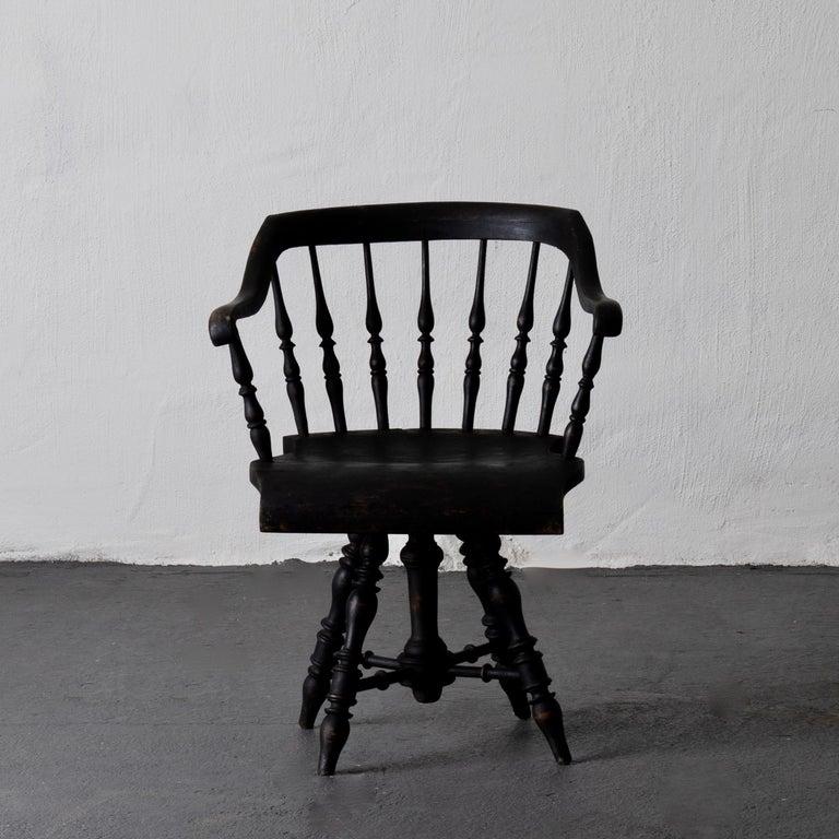 Folk Art Armchair Captain's Chair Black Swedish 19th Century Sweden For Sale