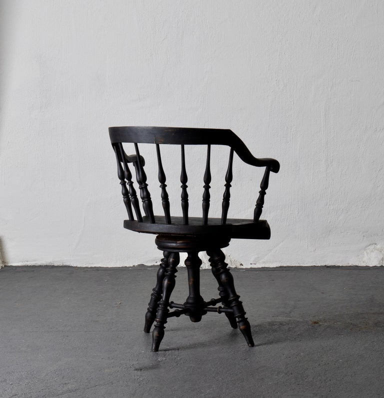 Hand-Painted Armchair Captain's Chair Black Swedish 19th Century Sweden For Sale