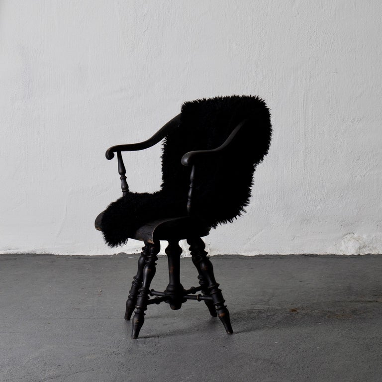 Armchair Captain's Chair Black Swedish 19th Century Sweden In Good Condition For Sale In New York, NY