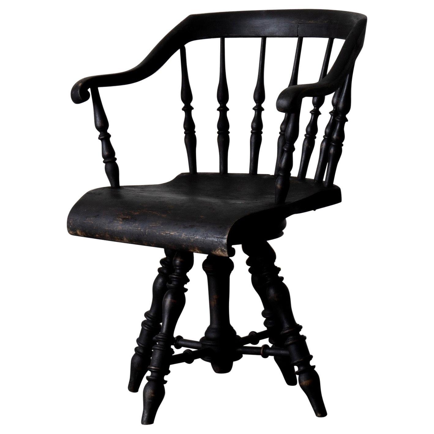 Armchair Captain's Chair Black Swedish 19th Century Sweden
