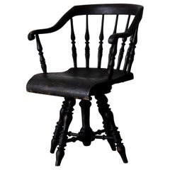 Armchair Captain's Chair Black Swedish 19th Century Sweden