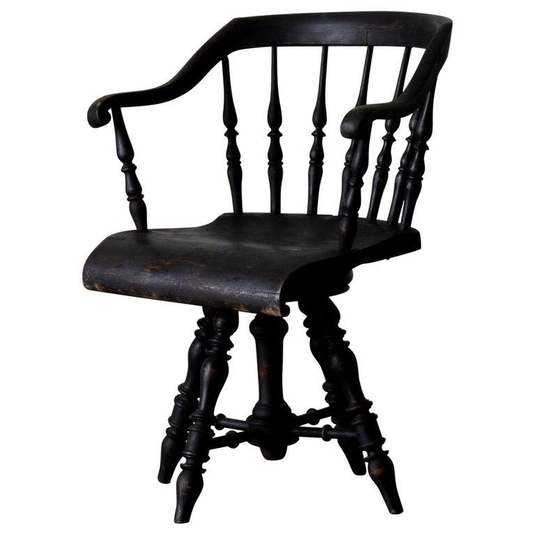 Armchair Captain's Chair Black Swedish 19th Century Sweden For Sale