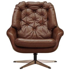 Armchair Brown Leather Danish Design Vintage 1960s