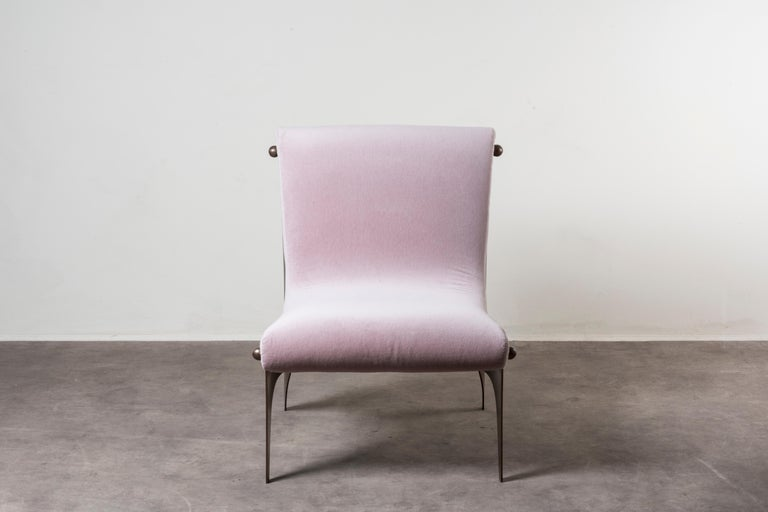 Armchair by Analogia Project.  Unfold collection. Italy, 2019. Nilufar edition. Bronze, velvet upholstery. Measures: 41.5 x 81.5 x H 83 cm, 16.3 x 32.08 x 32.7 in.  Please note: Prices do not include VAT. VAT may be applied depending on the