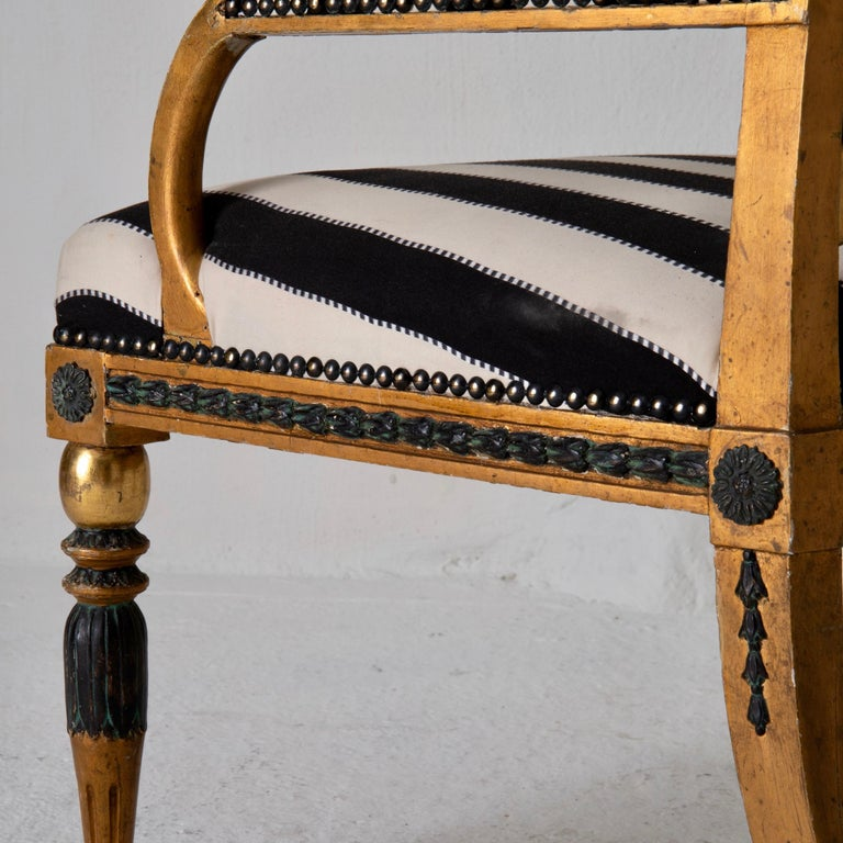Armchair by ES and Stool Neoclassical 18th Century Sweden Gilded and Green For Sale 5