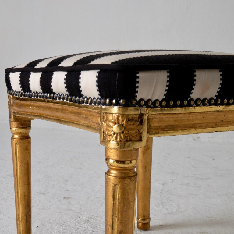 Armchair by ES and Stool Neoclassical 18th Century Sweden Gilded and Green For Sale 9