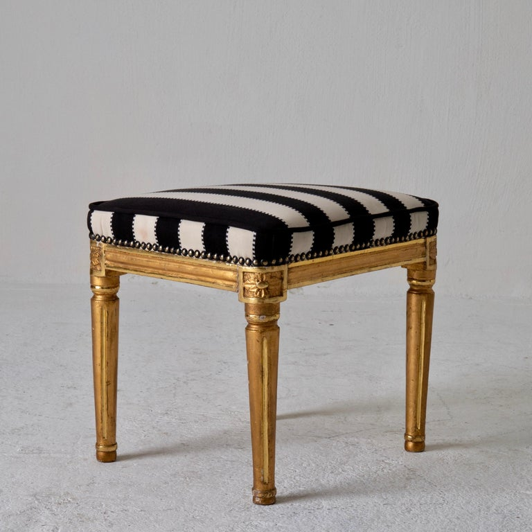 Armchair by ES and Stool Neoclassical 18th Century Sweden Gilded and Green For Sale 12