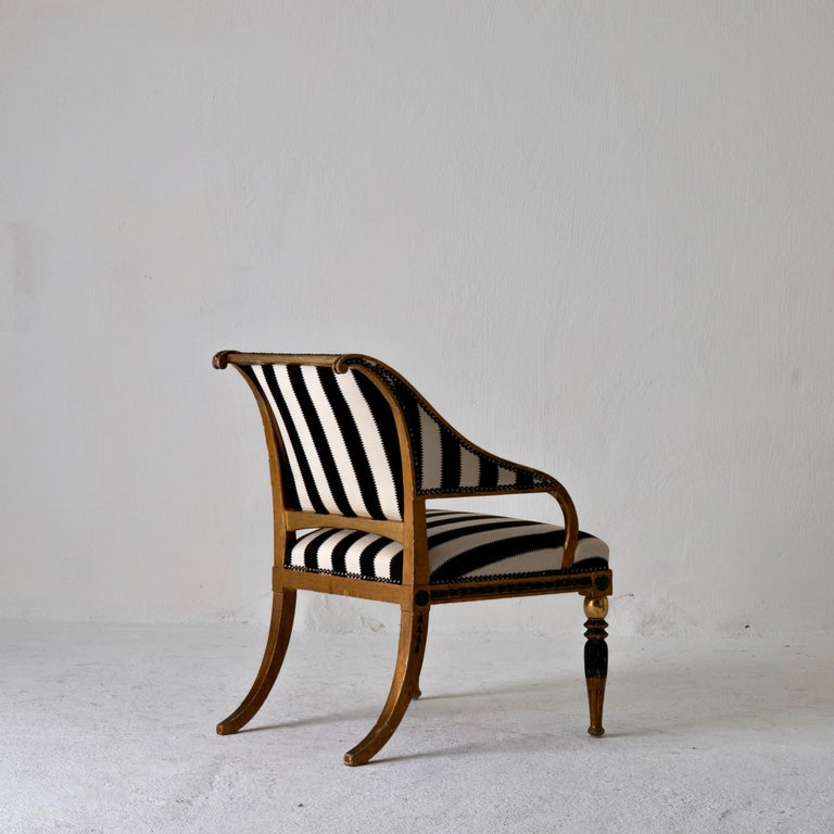 Swedish Armchair by ES and Stool Neoclassical 18th Century Sweden Gilded and Green For Sale