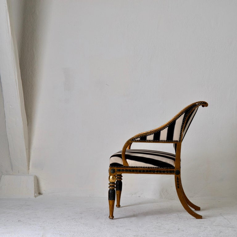 Armchair by ES and Stool Neoclassical 18th Century Sweden Gilded and Green In Good Condition For Sale In New York, NY