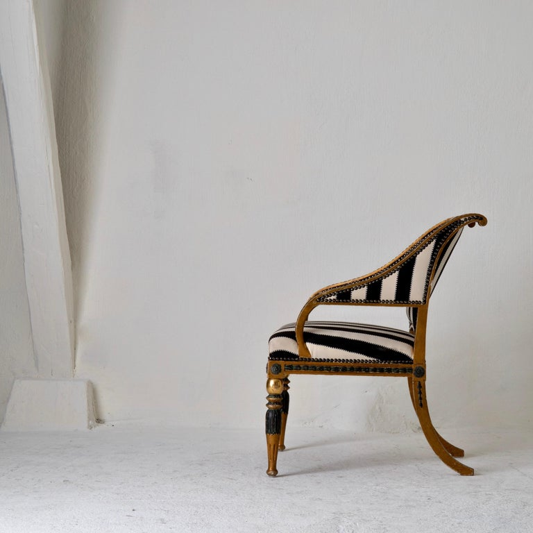 Giltwood Armchair by ES and Stool Neoclassical 18th Century Sweden Gilded and Green For Sale