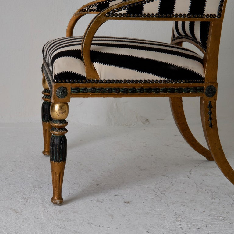 Armchair by ES and Stool Neoclassical 18th Century Sweden Gilded and Green For Sale 1