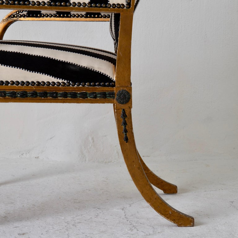 Armchair by ES and Stool Neoclassical 18th Century Sweden Gilded and Green For Sale 4