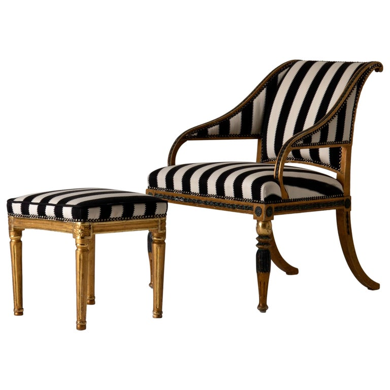 Armchair by ES and Stool Neoclassical 18th Century Sweden Gilded and Green For Sale