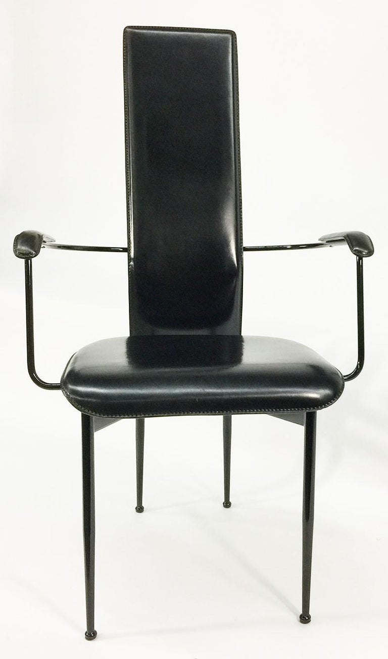 Armchair by Giancarlo Vegni and Gianfranco Gualtierotti for Fasem Italy, 1980s  Black metal and leather armchair with high back  The measurements are: 103 cm high, 57 cm wide and the depth is 48 cm Seat height is 48 cm  The weight is