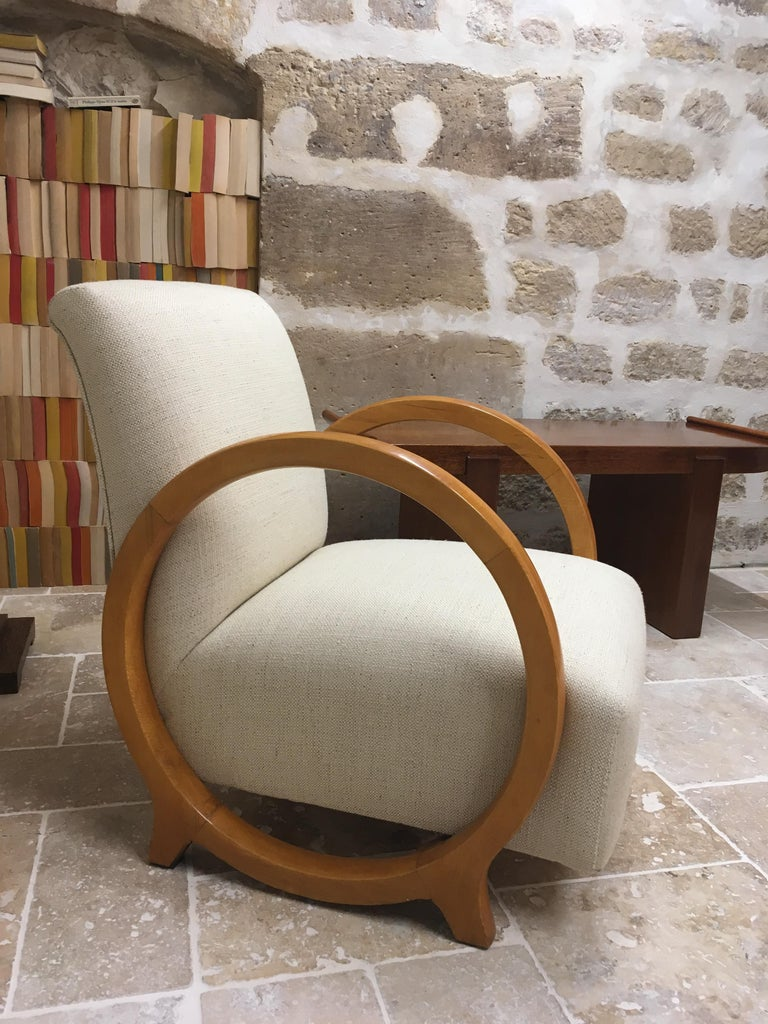 A rare modernistic armchair by great French designer of 20th century Jacques Adnet (1901-1984) for the Compagnie des Arts Français.