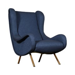 Armchair by Marco Zanuso Fabric Metal Vintage, Italy, 1950s