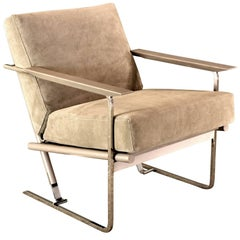 Armchair by Pedro Useche Imbuia Wood Back, Brass Legs, Tan Upholstery
