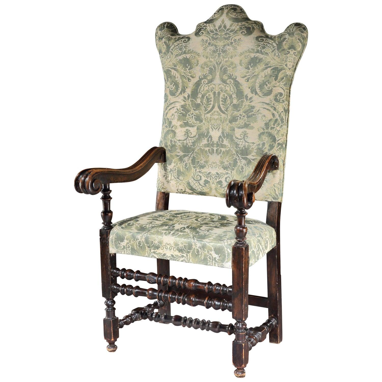 Armchair, Chair, Upholstered, Italian, Bologna, Walnut, Damask, Green, Ivory