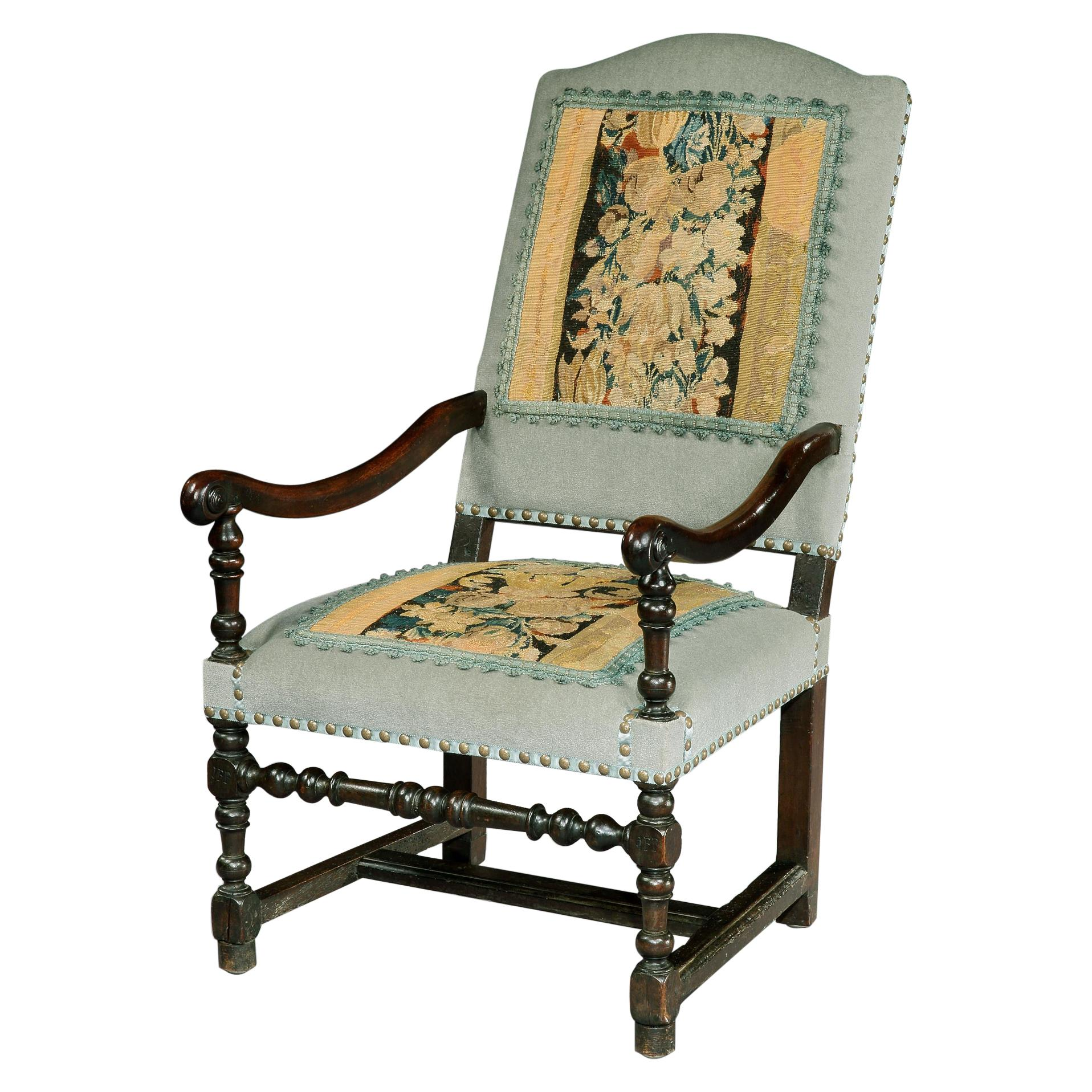 Armchair Commemorative Walnut Folk Initialed JFP dFP French Aubusson Tapestry