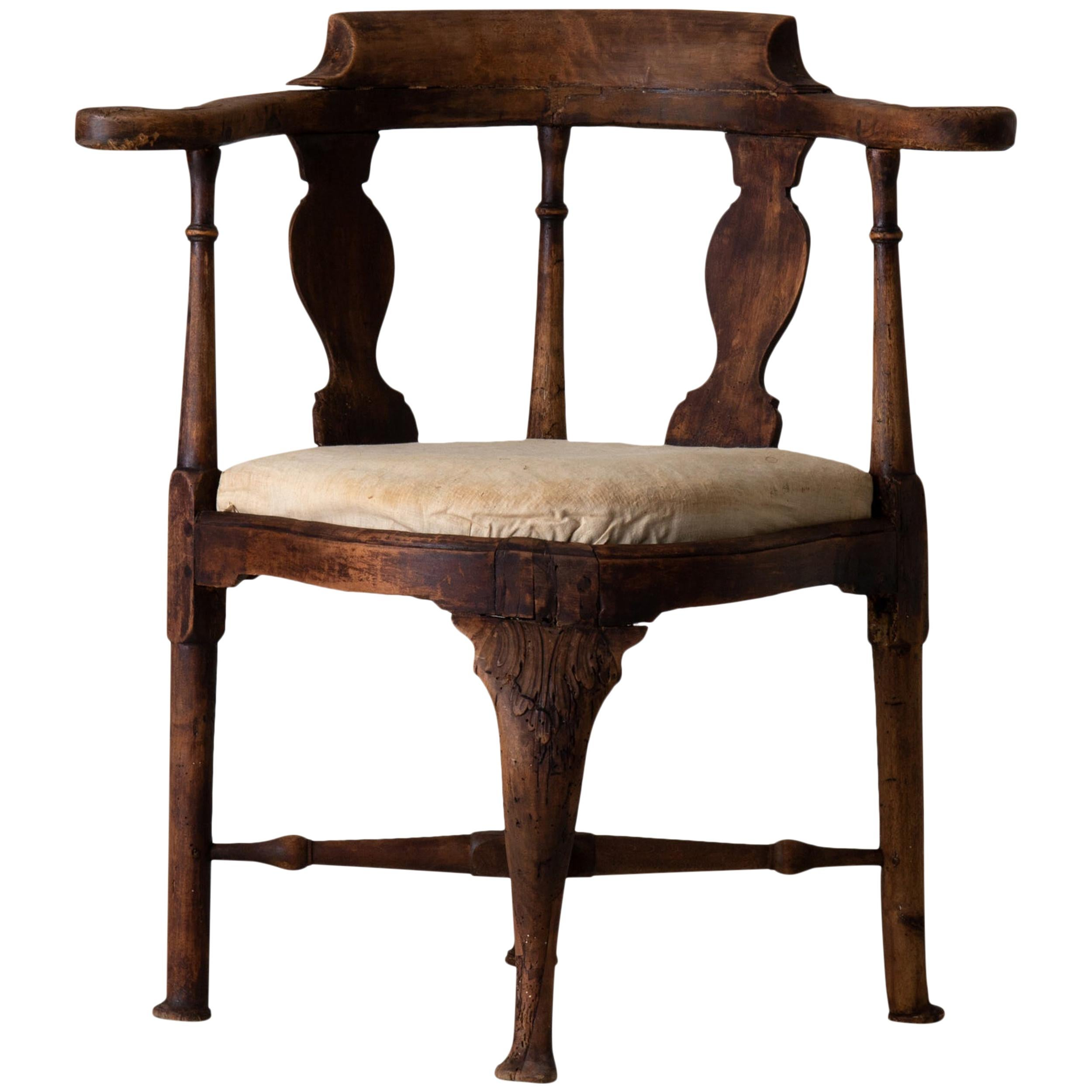 Armchair Corner Rococo, 18th Century, Sweden