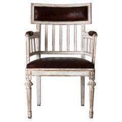 Armchair Desk Chair Gustavian Swedish 18th Century White Leather Seat Sweden