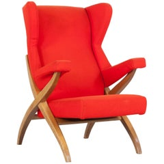 "Armchair ""Fiorenza"" in Original Red Color, by Franco Albini in 1952 for Arflex"