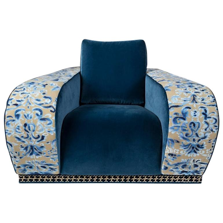 Armchair Firenze EticaLiving, Blue Fabric and Velvet, Made in Italy