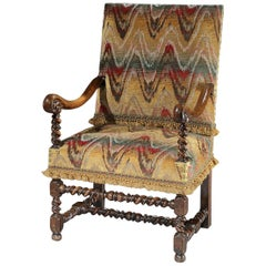Armchair, Flemish, 17th Century, Walnut, Upholstered, Bargello, Scrollarm