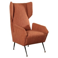 Armchair, Foam Fabric Brass and Metal, Italy, 1950s-1960s