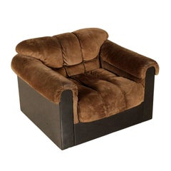 Armchair Foam Padding Suede Leather Vintage, Italy, 1960s-1970s
