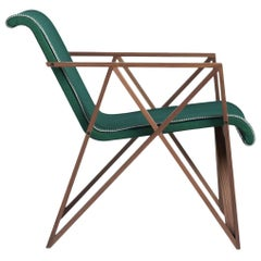 Armchair for Metz&Co in Green Felt, Designed in 1958 by Gerrit Rietveld