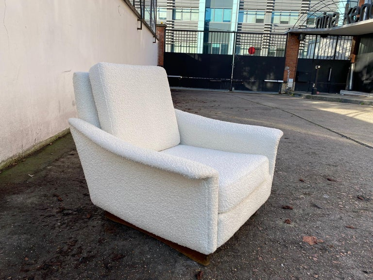 Large armchair for Steiner, France, 1960s Reupholstered with a nice crème fabric.