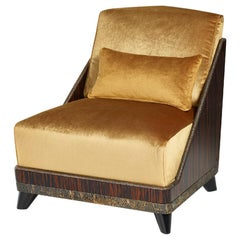 Armchair Frame Ebony Veneered Plywood Details Antique Bronze or Silver Pillow