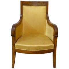 Armchair French Directoire Walnut Fauteuil, Early 19th Century