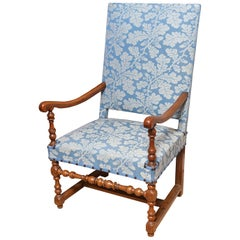Armchair French Walnut Upholstered Open Baroque Blue Leaf Upholstery