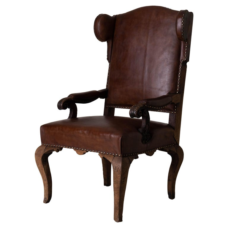 Armchair French Wingback Rococo Period 18th Century France For Sale