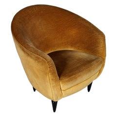 Armchair Gio Ponti Design Attributed, Original Velvet Upholstery, circa 1938