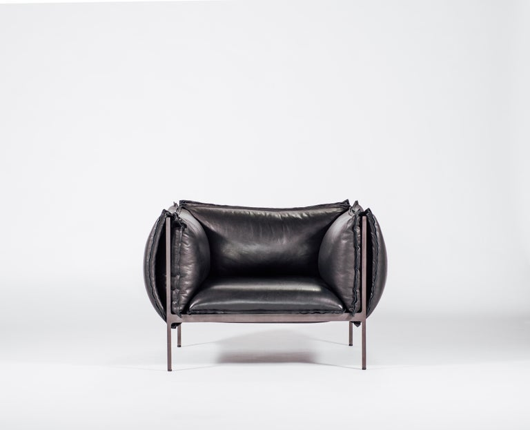 Modern Armchair in Black Leather and Oiled Laser-Cut Steel For Sale