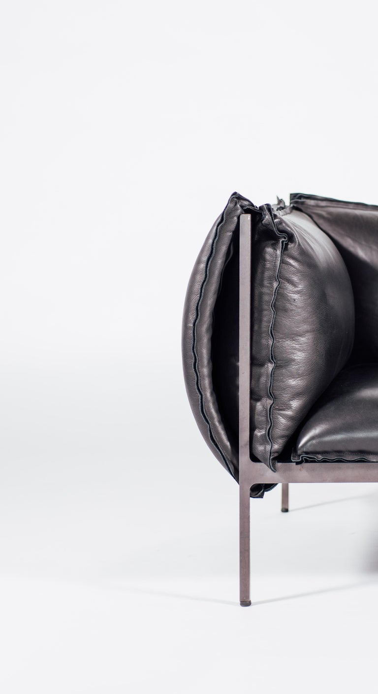 Vegetable Dyed Armchair in Black Leather and Oiled Laser-Cut Steel For Sale