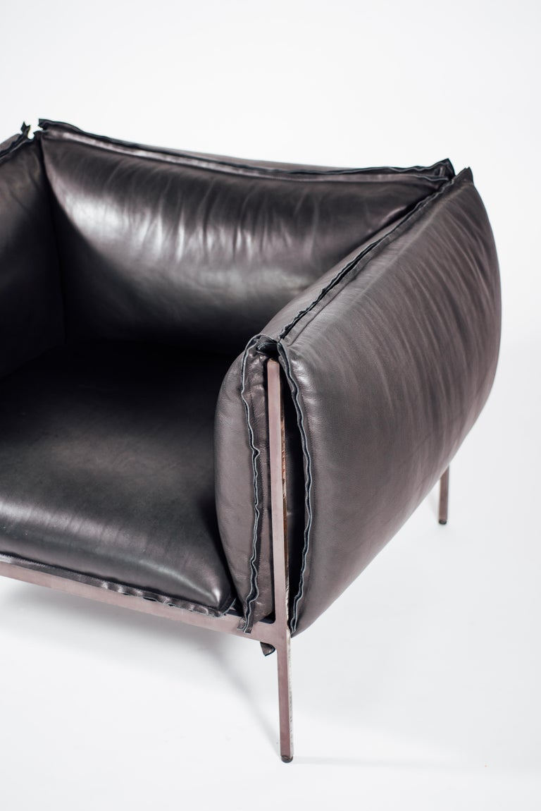 Armchair in Black Leather and Oiled Laser-Cut Steel In New Condition For Sale In Los Angeles, CA