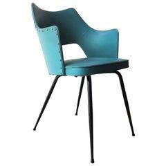 Armchair in Bluegreen Eco Friendly Original Leather, Black Metal Legs, 1950s