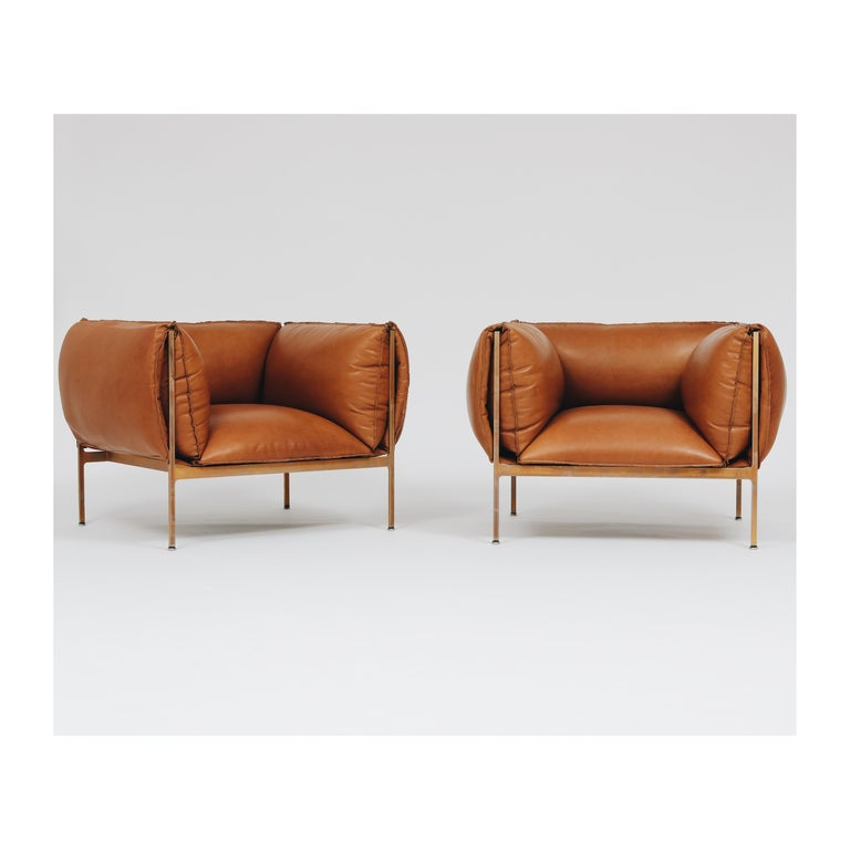 American Armchair in Cognac Leather and Burnished Brass-Plated Laser-Cut Steel Frame For Sale
