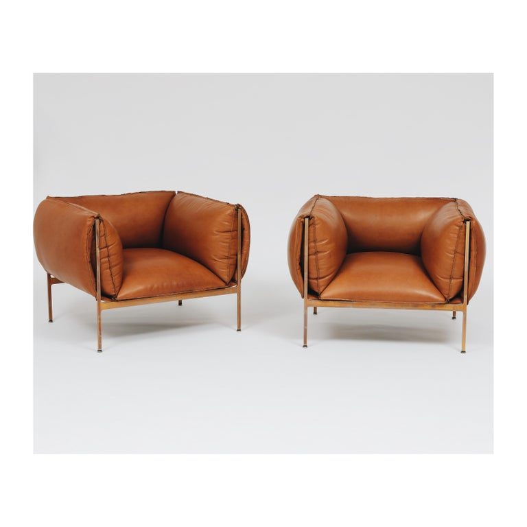 Other Armchair in Cognac Leather and Burnished Brass-Plated Laser-Cut Steel Frame For Sale