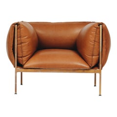Armchair in Cognac Leather and Burnished Brass-Plated Laser-Cut Steel Frame